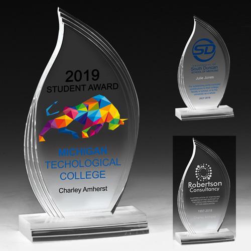 "7574-1S (Screen Print), 7574-1L (Laser), 7574-1P (4Color Process) - Flame Legend Award - 8 7/8"""