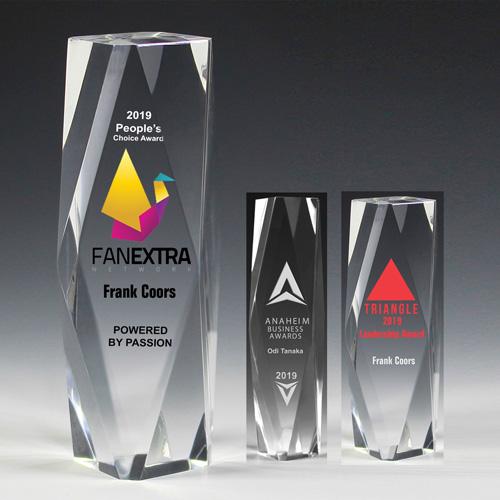 "7606-2S (Screen Print), 7606-2L (Laser), 7606-2P (4Color Process) - 2"" Thick Obelisk Acrylic Awards"