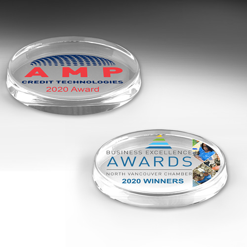 """8518S (Screen Print), 8518P (4Color Process) - Oval Glass Award Paperweight - 3"""" x 5"""" x 3/4"""""""