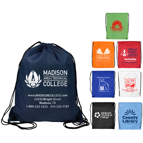 """14-1/2"""" W x 17-1/2"""" H - """"Ventoux"""" 210D Polyester Drawstring Cinch Pack Backpack"""