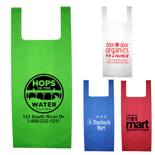 """12"""" W x 22-1/2"""" - """"Caveat"""" Everyday Lightweight T-Shirt Style Grocery Shopping Tote Bag"""