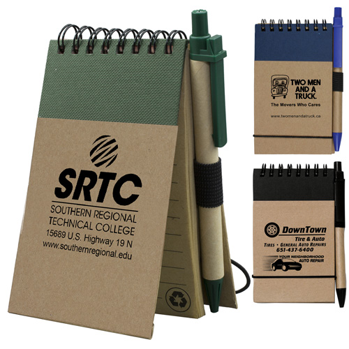 """""""Arcata"""" Recycled Jotter Notepad Notebook with Matching Color Recycled Paper Pen"""