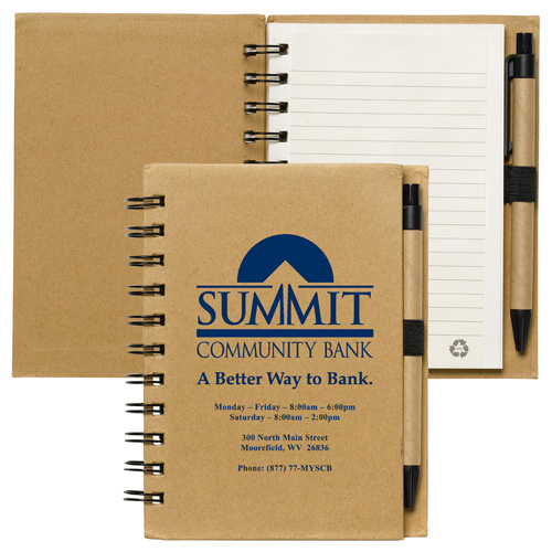 """""""Cruz"""" Larger Size Recycled Jotter Notepad Notebook with Recycled Paper Pen"""