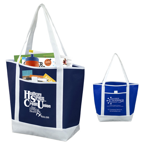 """17-1/2"""" W x 13-1/2"""" H x 6"""" D - """"The Liberty"""" Beach, Corporate and Travel Boat Tote Bag"""