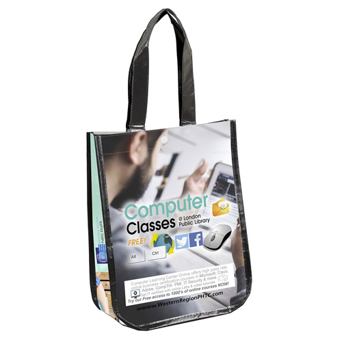 """9-1/4"""" W x 12"""" H - """"Lauren"""" Small Non-Woven Full Color Laminated Wrap Carry All Tote and Shopping Bag"""