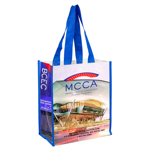 """12"""" W x 14"""" H - """"Nicole"""" Full Color Laminated Woven Wrap Tote and Shopping Bag"""