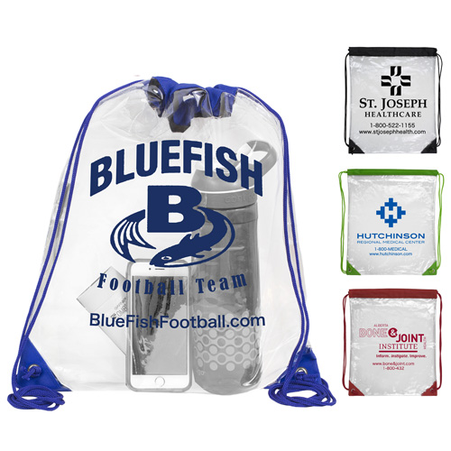 """13"""" W x 16"""" H - """"Everest"""" Tall Clear Drawstring Cinch Pack Backpack"""