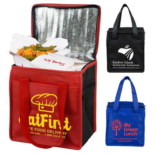"""8"""" W x 8-1/2"""" H -  """"Super Frosty"""" Insulated Food Delivery Bag  – Lunch Size Tote"""