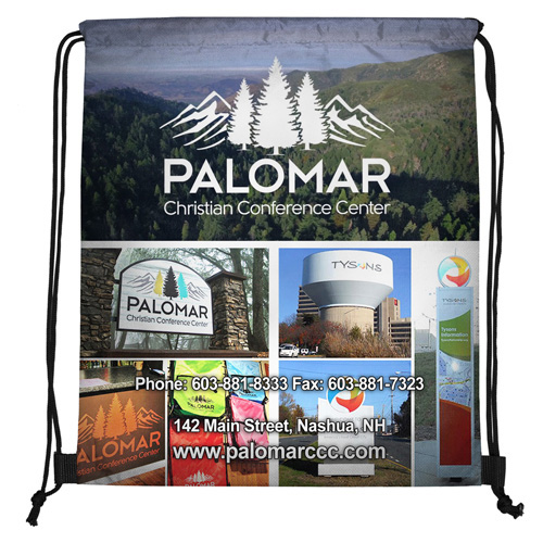 """14""""W x 17"""" H """"Fuji"""" 210 Polyester Full Color Sublimation Drawstring Cinch Pack Backpack"""