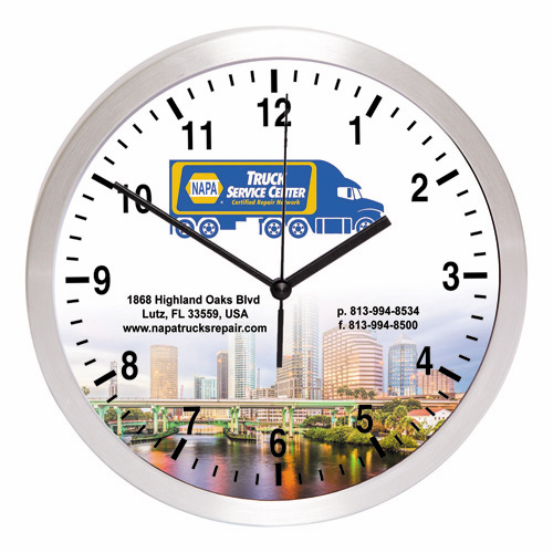 """""""Balance"""" 10"""" Brushed Metal Wall Clock with Glass Lens"""