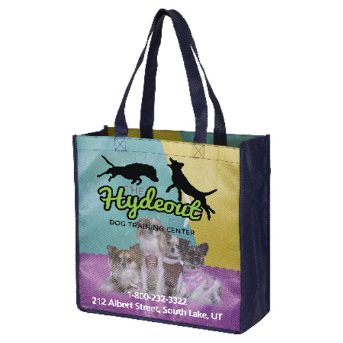 """13"""" x 13"""" Full Color Glossy Lamination Grocery Shopping Tote Bags"""
