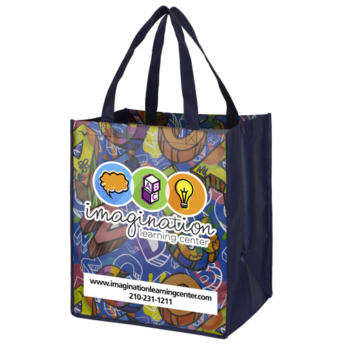"""13"""" x 15"""" Full Color Glossy Lamination Grocery Shopping Tote Bags"""