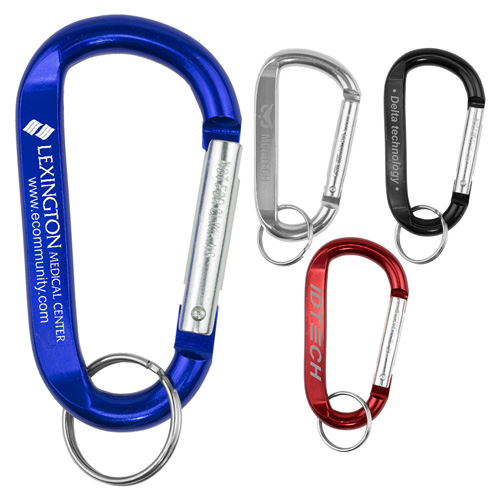 """""""Cara L"""" Large Size Carabiner Keyholder with Split Ring Attachment"""