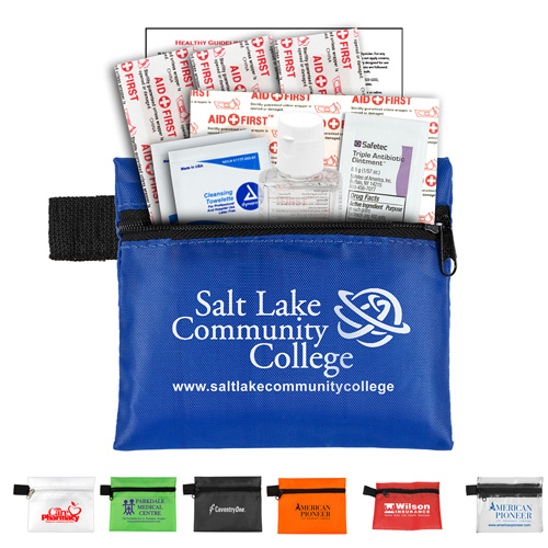 """""""SaniTime Plus"""" 9 Piece Hand Sanitizer Healthy Living Pack in Zipper Pouch Components inserted into Zipper Pouch"""