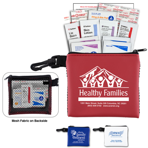 """""""Team Mom"""" 21 Piece All Purpose Healthy Living Pack in Zipper Mesh Pouch Components inserted into Zipper Pouch"""