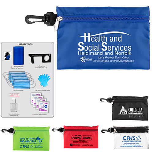 12 Piece Safety Kit in Zipper Pouch with Carabiner Attachment