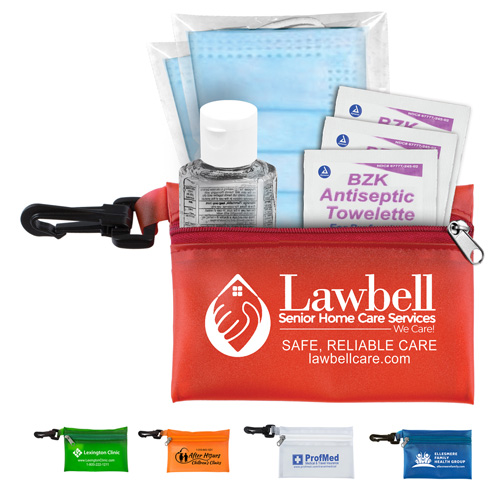 """""""Everything Essential"""" Mask & Sanitizing Protection Pack in Translucent Zipper Pouch With Plastic Hook Attachment"""