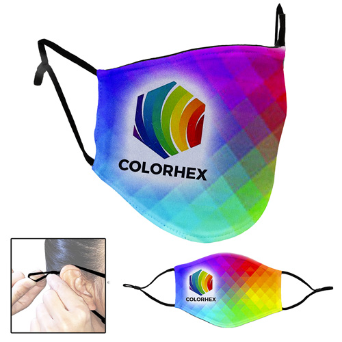 Full Color Sublimation 3-Ply Washable & Reusable Cotton/Polyester Face Mask with Ear Loop Adjusters