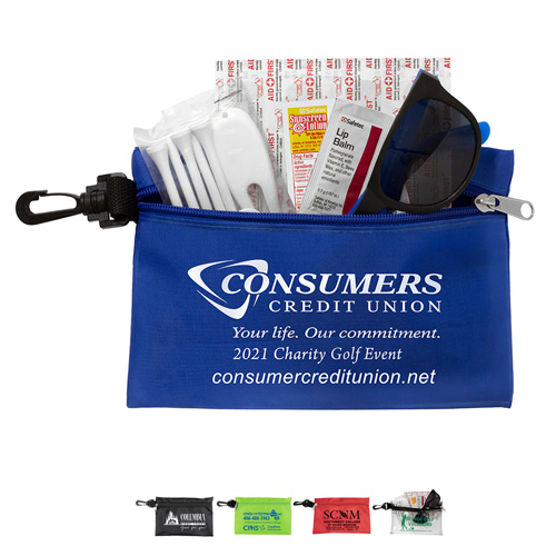 """""""CHIP"""" 14 Piece Golf Kit in Supersized Zipper Pouch Components inserted into Zipper Pouch with Plastic Carabiner Attachment"""