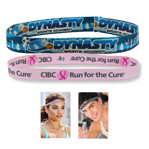 """Marathon 1/2"" Headband Stretchy Elastic Dye Sublimation Headbands - PhotoImage ® Full Color Imprint"