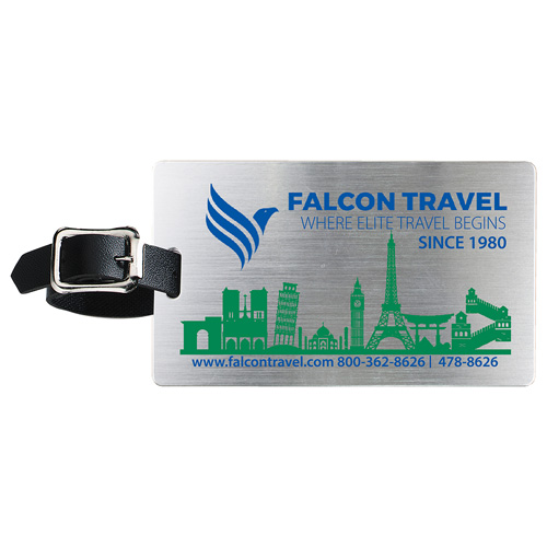 """""""Kingcobra"""" Brushed Aluminum Kwik Seal® Backing Luggage Bag Tag"""