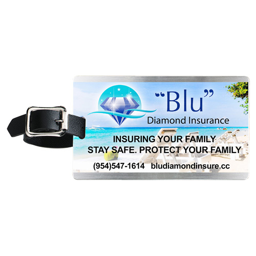 """""""Kingcobra"""" Brushed Aluminum Kwik Seal® Backing Luggage Bag Tag (PhotoImage Full Color)"""