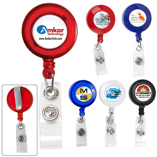 """""""Lorain VL"""" 30"""" Cord Round Retractable Badge Reel and Badge Holder with Metal Slip Clip Attachment"""