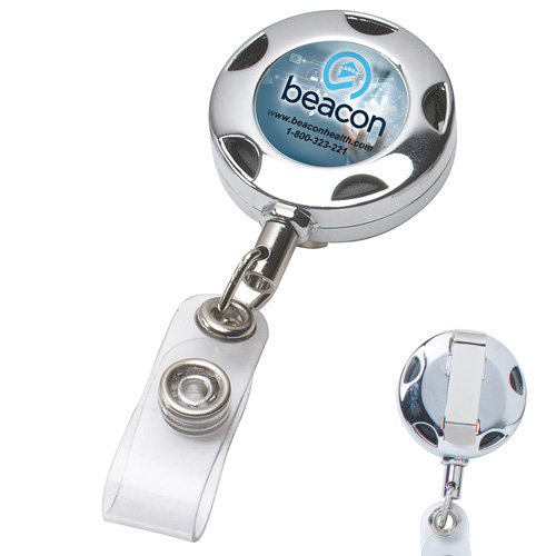 """""""Tiffin""""32"""" Cord Round Chrome Solid Metal Sport Retractable Badge Reel & Badge Holder"""