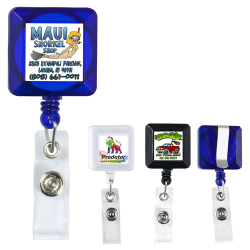 """""""Kent VL"""" 30"""" Cord Square Retractable Badge Reel and Badge Holder with Metal Slip Clip Attachment"""