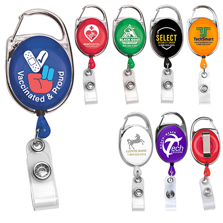 """""""Oberlin"""" 30"""" Cord Retractable Carabiner Style Badge Reel and Badge Holder (Patent D539,122)"""
