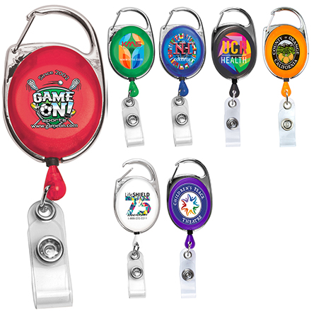 """""""Oberlin PI"""" 30"""" Cord PhotoImage ® Full Color Imprint* Retractable Carabiner Style Badge Reel and Badge Holder  (Patent D539,122)"""
