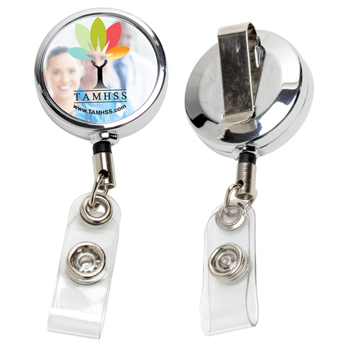 """""""Dublin Chrome"""" 30"""" Cord Chrome Solid Metal Retractable Badge Reel and Badge Holder with Full Color Vinyl Label Imprint"""