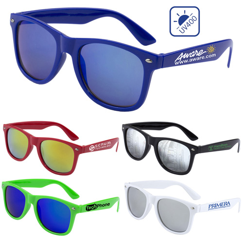 """""""Clairemont"""" Colored Mirror Tint Lens Sunglasses with High Gloss Frame"""