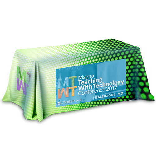 """""""Marengo OS Six"""" 3-Sided Throw Style Table Covers All Over Full Color Dye Sublimation Imprint - Fits 6 ft Table"""