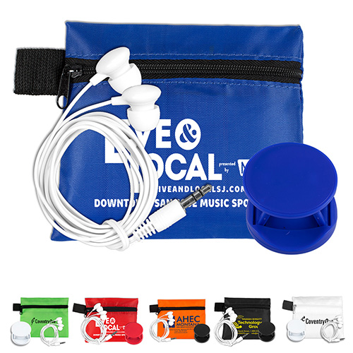 """""""CarCharge Plus"""" Mobile Tech Car Accessory Kit Components inserted into Polyester Zipper Pouch"""