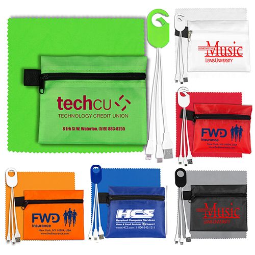 """""""ReCharge Zip"""" Mobile Tech Charging Cables In Zipper Pouch Components inserted into Polyester Zipper Pouch"""