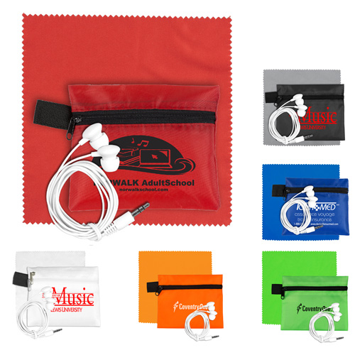 """""""ZipTune Plus"""" Mobile Tech Earbud Kit with Microfiber Cleaning Cloth In Zipper Pouch Components inserted into Polyester zippe Pouch"""
