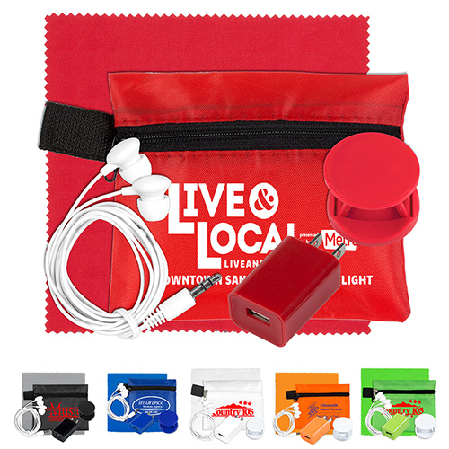 Mobile Tech Auto and Home Charging Kit with Earbuds and Microfiber Cleaning Cloth in Polyester Zipper Pouch