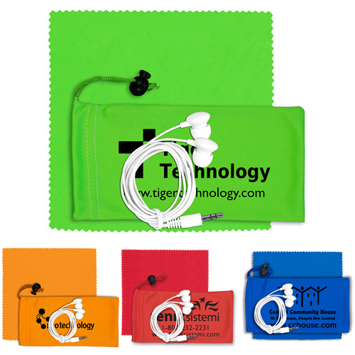 """""""Tuneboom Plus"""" Mobile Tech Earbud Kit with Microfiber Cloth in Microfiber Cinch Pouch Components inserted into Microfiber Pouch"""