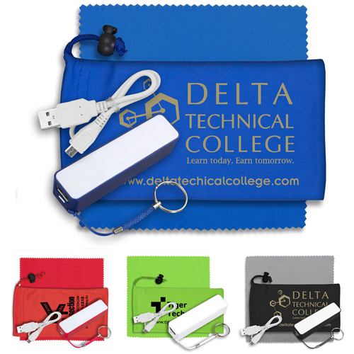 """""""TechBank"""" Mobile Tech Power Bank Accessory Kit in Microfiber Cinch Pouch Components inserted into Microfiber Pouch"""