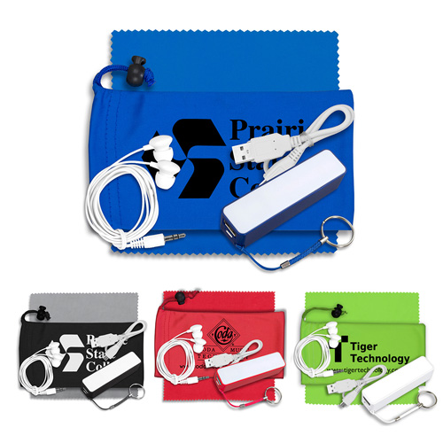 """""""TechBank Plus"""" Mobile Tech Power Bank Accessory Kit with Earbuds in Microfiber Cinch Pouch"""