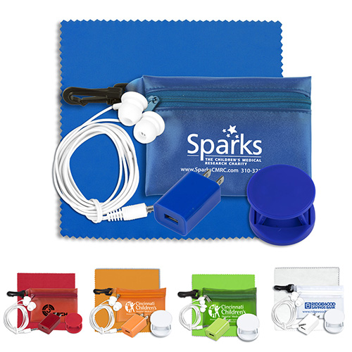 """""""Tons-o-Tunes"""" Mobile Tech Auto and Home Accessory Kit in Translucent Carabiner Zipper Pouch"""