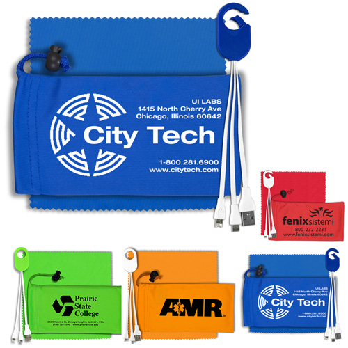 """""""ReCharge Pouch"""" Mobile Tech Charging Cable Kit in Microfiber Cinch Pouch Components inserted into Microfiber Pouch"""
