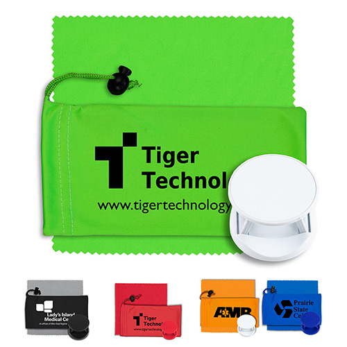 """""""CarCharge"""" Mobile Tech Auto Accessory Kit in Microfiber Cinch Pouch Components inserted into Microfiber Pouch"""