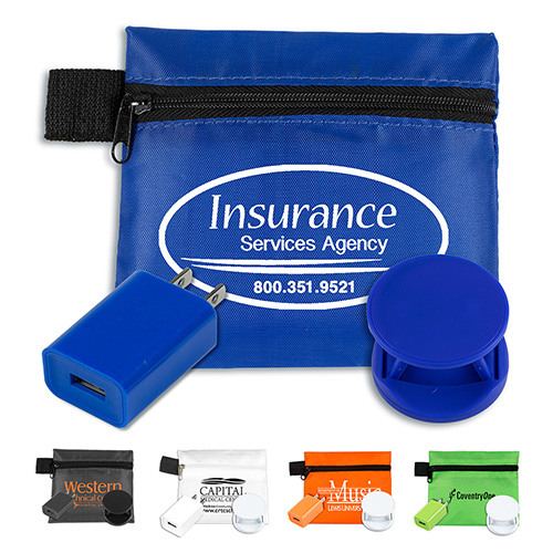 """""""ChargePouch"""" Mobile Tech Auto and Home Charging Kit in Polyester Zipper Pouch Components inserted into Polyester Zipper Pouch"""
