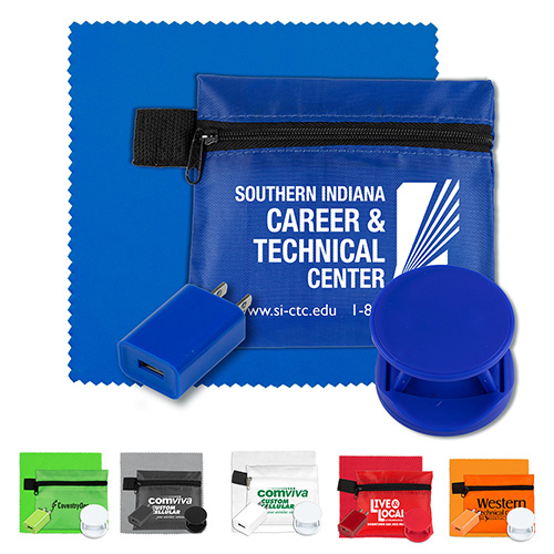"""""""ChargePouch Plus"""" Mobile Tech Auto and Home Charging Kit with Microfiber Cleaning Cloth in Polyester Zipper Pouch"""