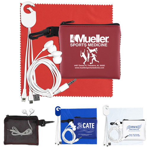 """""""TechMesh Hang Tunes"""" Mobile Tech Charging Kit with Earbuds and Charging Cable in Mesh Zipper Pouch Components inserted into Zipper Pouch"""