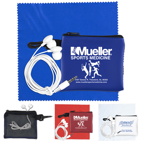 """""""TechMesh Tunes"""" Mobile Tech Earbud Kit in Mesh Zipper Pouch Components inserted into Zipper Pouch"""