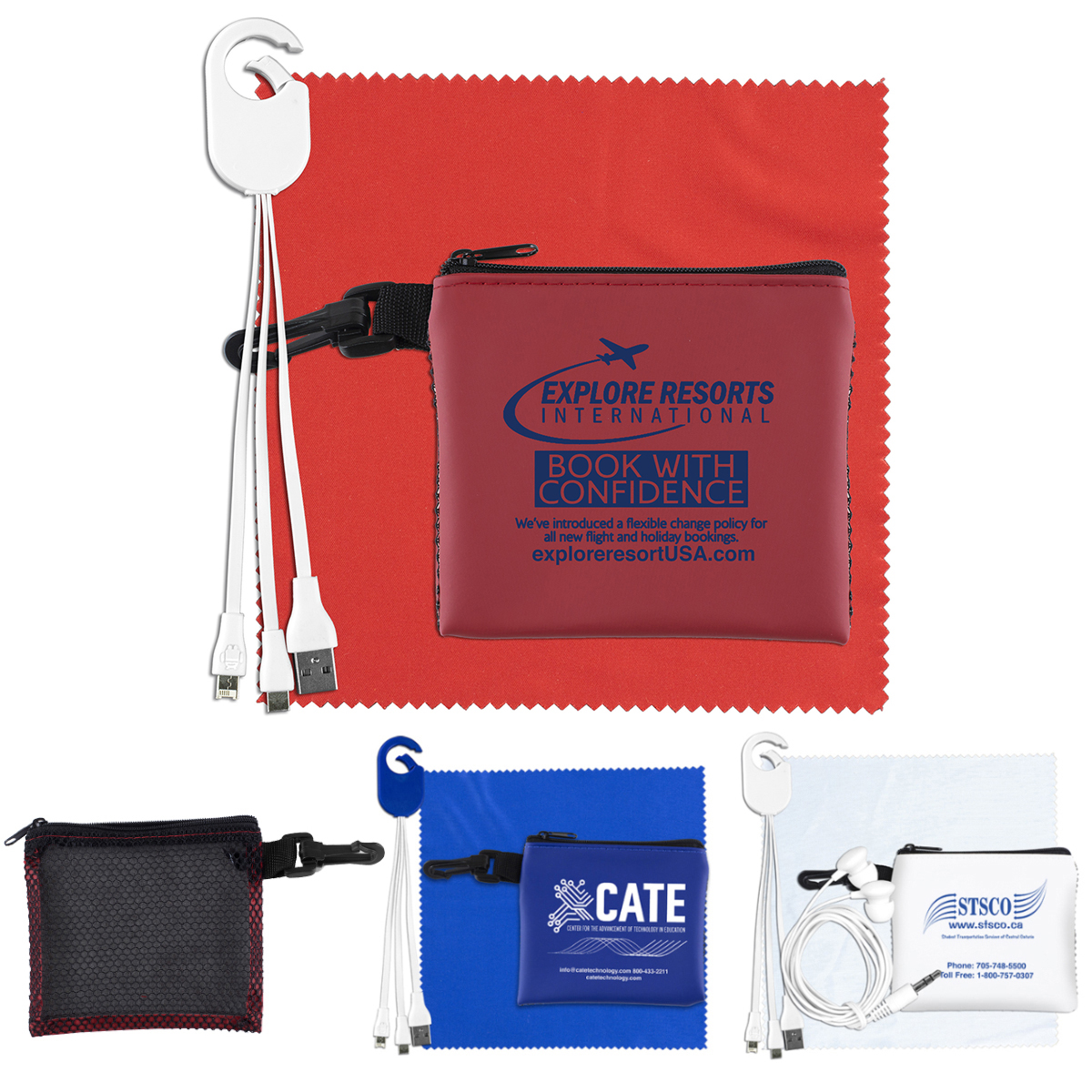 """""""TechMesh Hang Pro"""" Mobile Tech Charging Cable Kit in Mesh Zipper Pouch Components inserted into Zipper Pouch"""