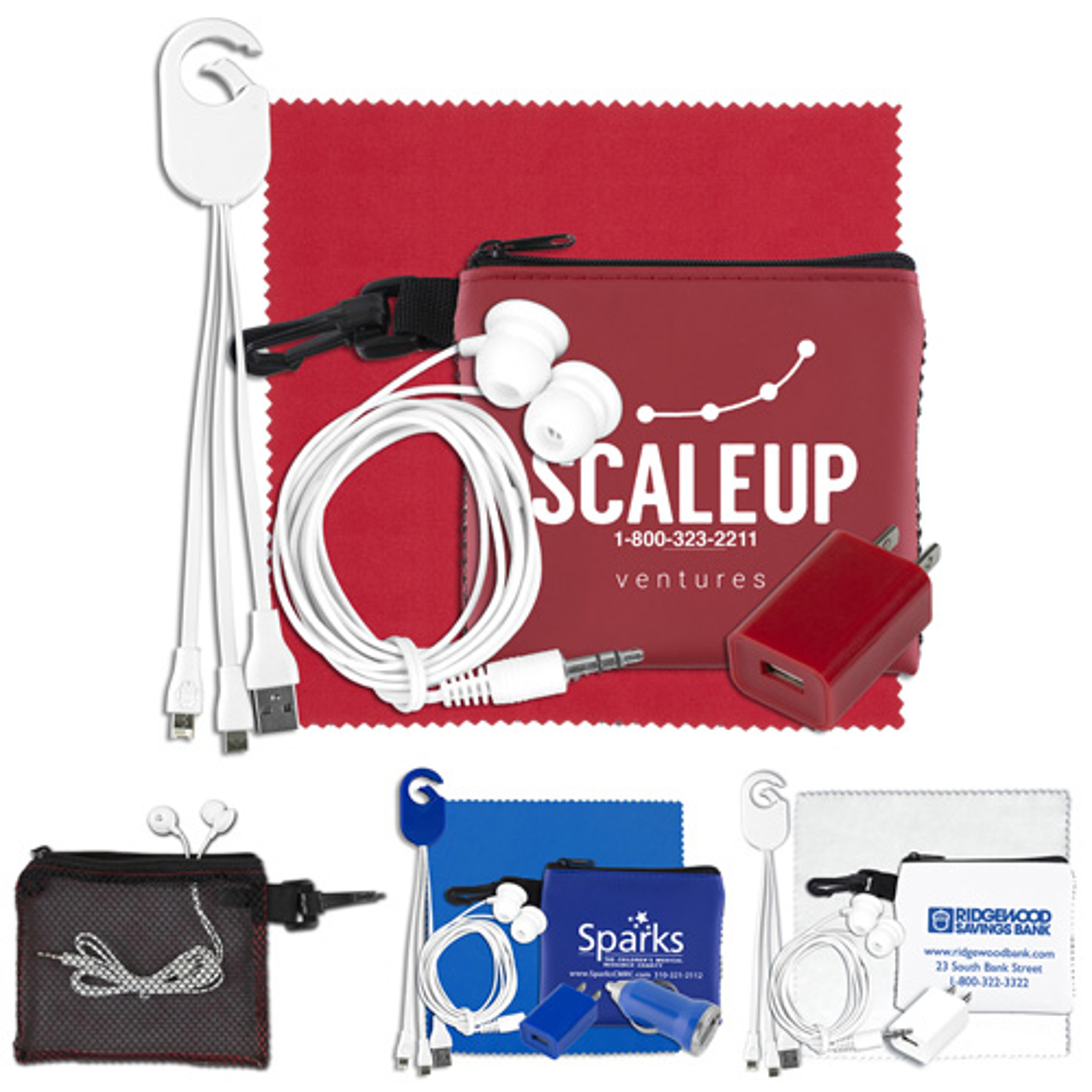 """TechMesh Clip"" Mobile Tech Accessory Kit in Mesh Zipper Pouch Components inserted into Zipper Pouch"